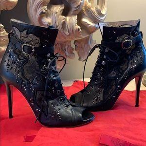 Stunning Valentino Black lace peep toe ankle boot